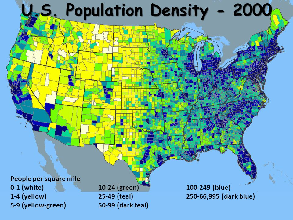 Populations And Growth Ppt Download - Us population growth map