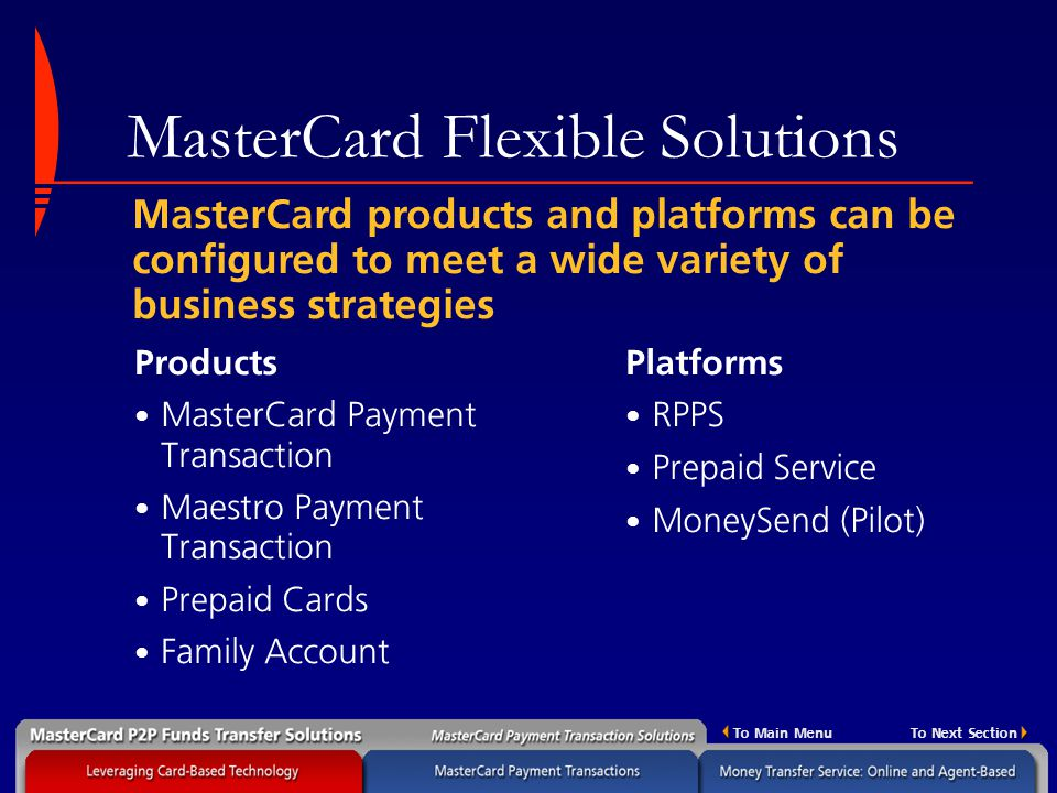 MasterCard Money Transfer Solutions - ppt download
