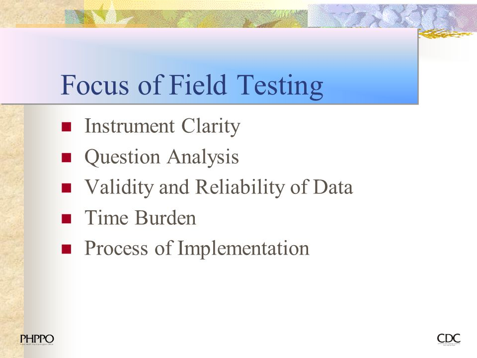 Focus of Field Testing Instrument Clarity Question Analysis
