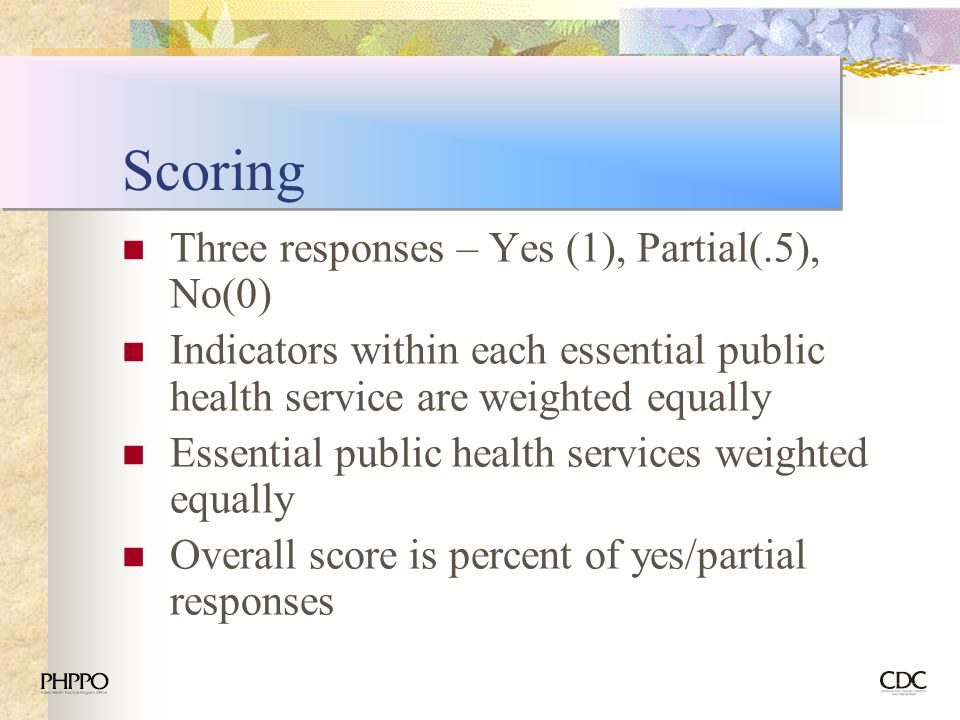 Scoring Three responses – Yes (1), Partial(.5), No(0)