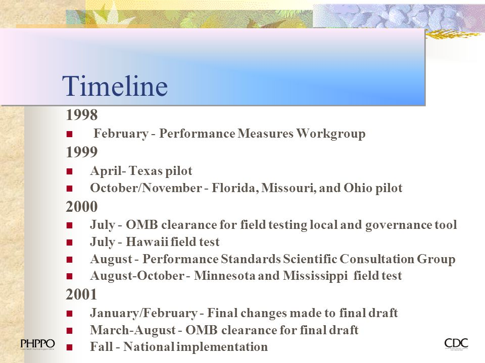 Timeline February - Performance Measures Workgroup