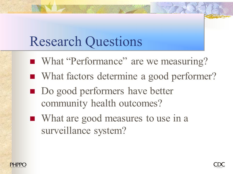 Research Questions What Performance are we measuring
