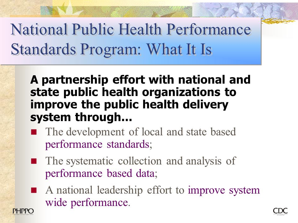 National Public Health Performance Standards Program: What It Is