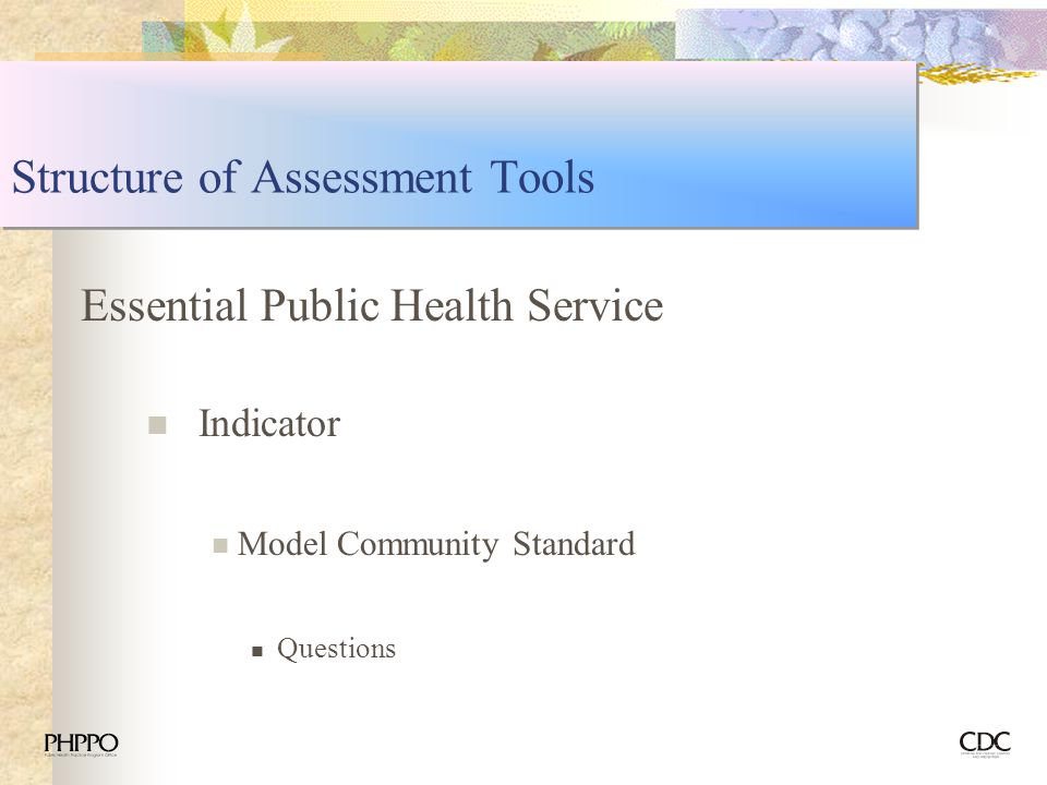 Structure of Assessment Tools