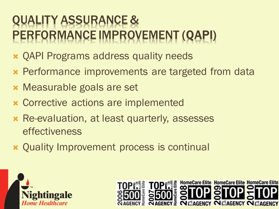"""quality assurance and performance improvement The proposed rule includes a requirement that each facility develop, implement and maintain an effective comprehensive, data-driven quality assurance and performance improvement (""""qapi"""") program that focuses on systems of care, outcomes of care and quality of life."""