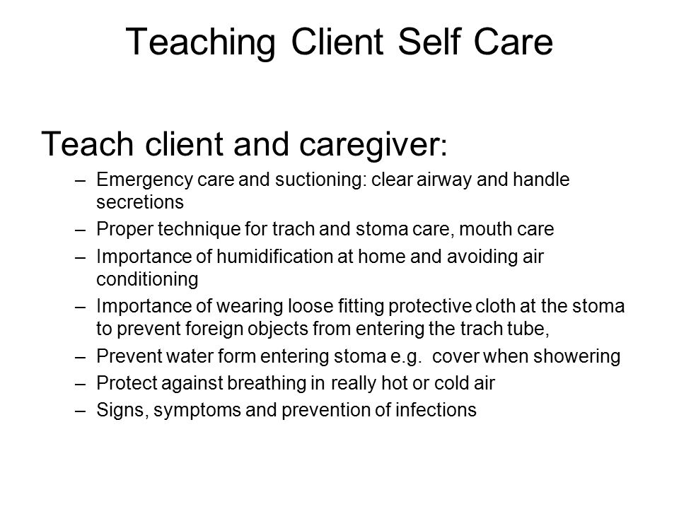 Teaching Client Self Care