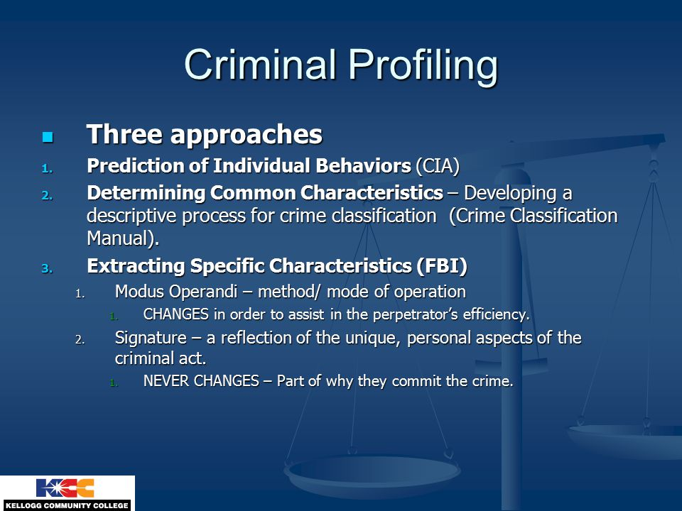 criminal psychology chapter techniques of criminal investigation  6 criminal profiling three approaches