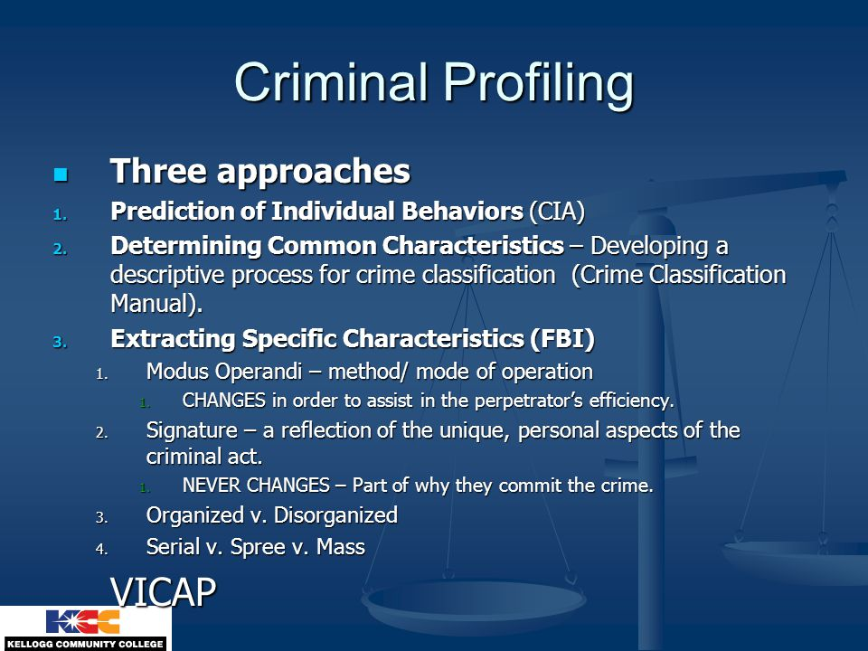 criminal profiling and the types of crime Source for information on typologies of criminal behavior:  finally, it is possible that there are no distinct forms of crime or types of offenders.