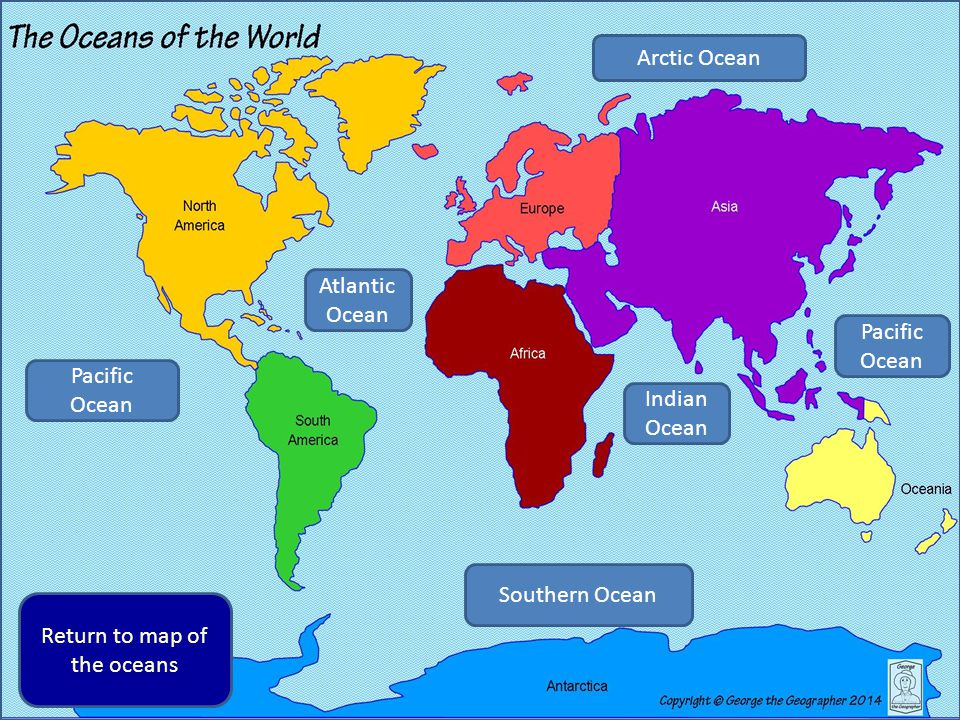 George The Geographer Finds Out About Oceans Of The World Ppt - Pacific and atlantic ocean map