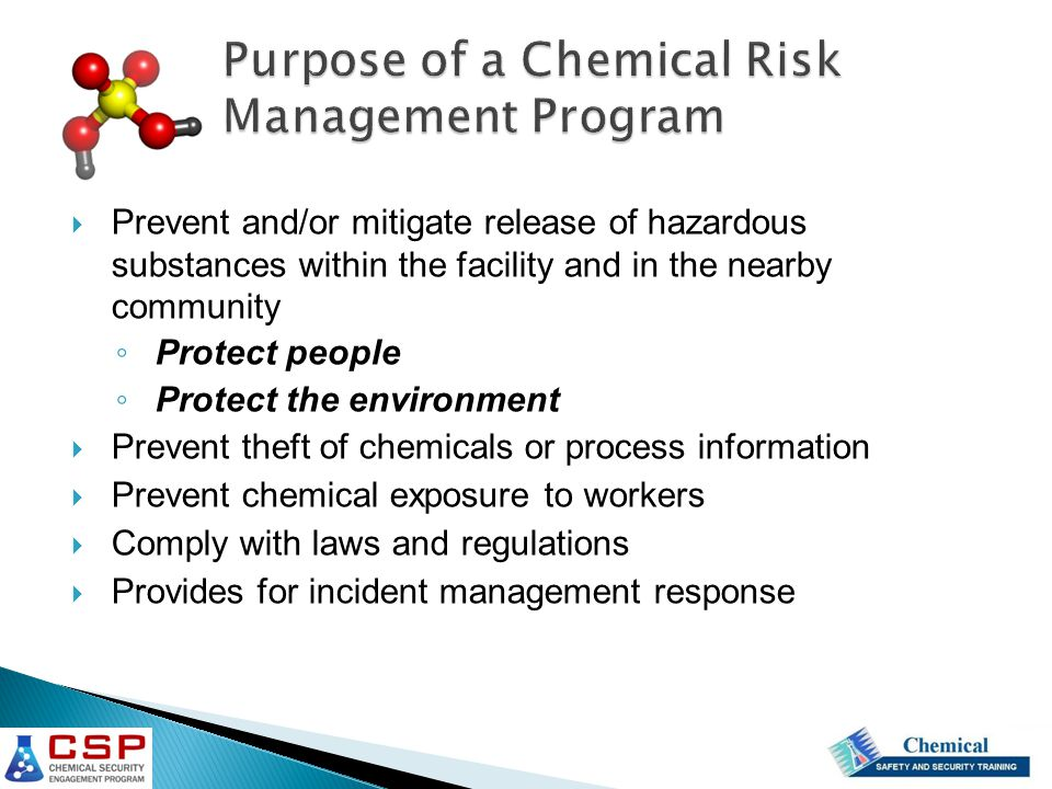 Purpose of a Chemical Risk Management Program