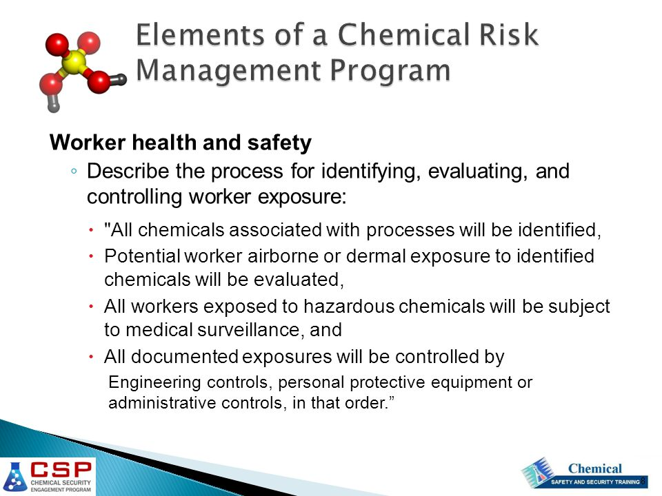Elements of a Chemical Risk Management Program