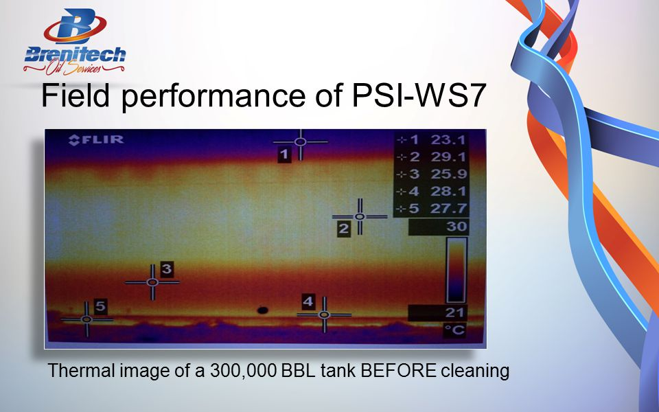 Thermal image of a 300,000 BBL tank BEFORE cleaning