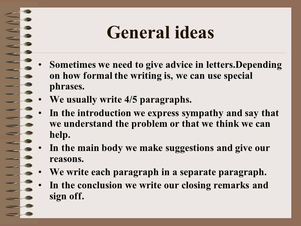 Informal Letters-Giving Advice - Ppt Video Online Download