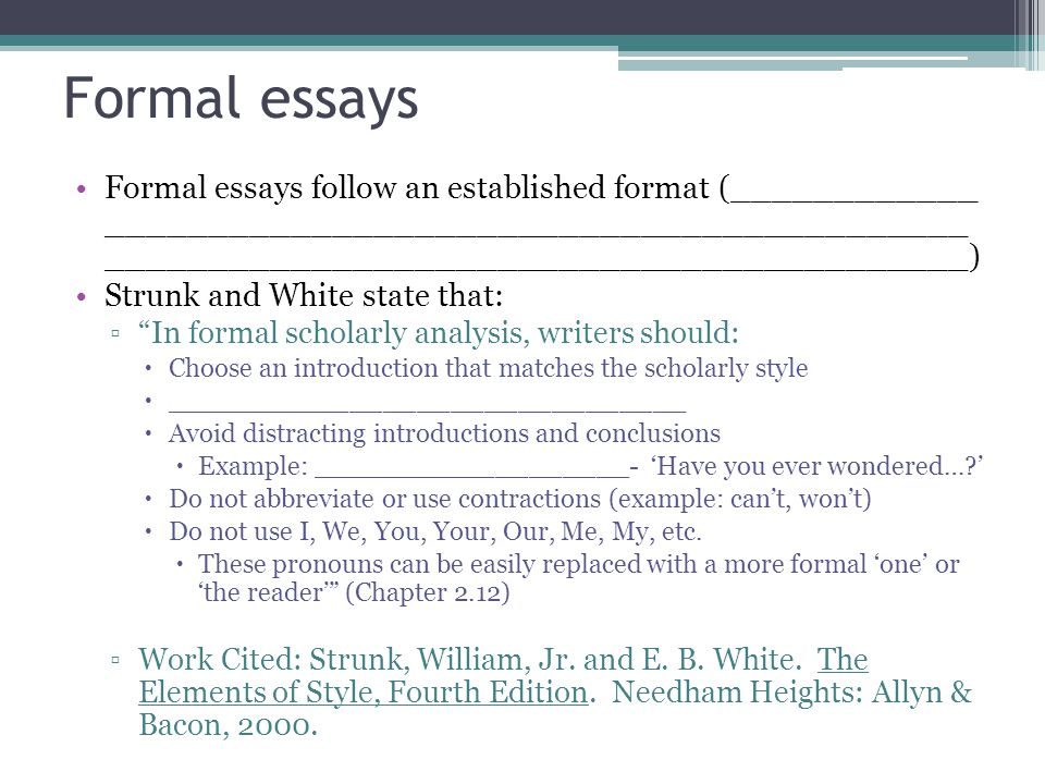 using we in a formal essay Essays - largest database of quality sample essays and research papers on example of formal essay.