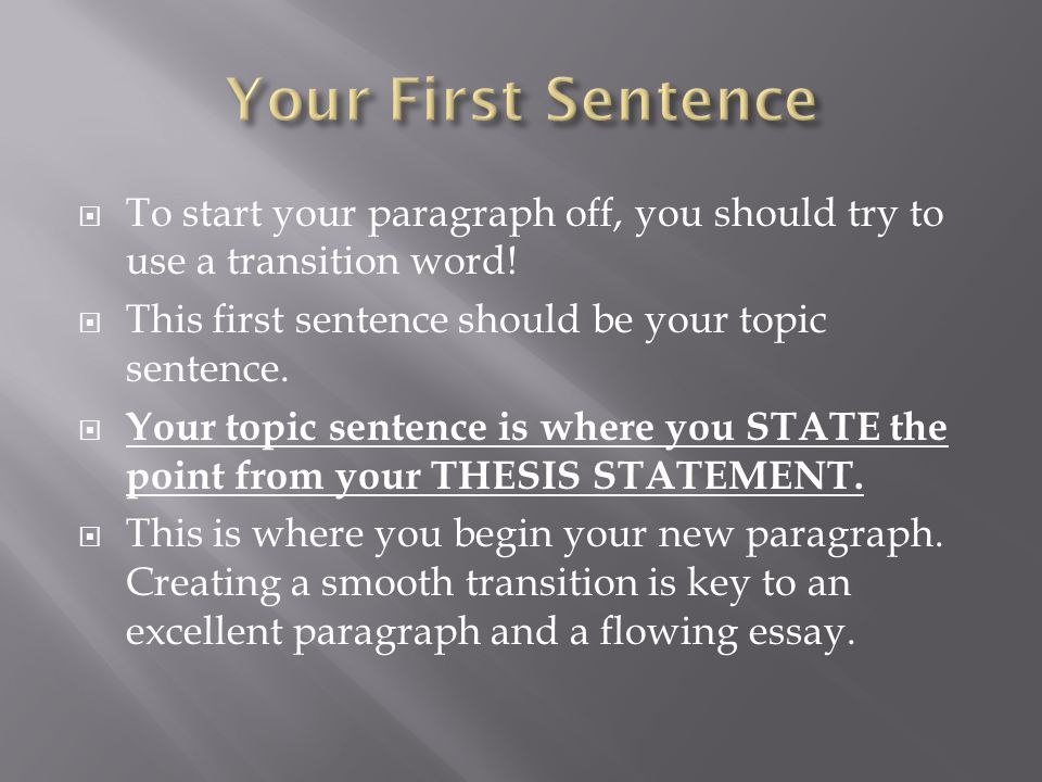 words to start an essay paragraph Use the transition list as you write: think about how the sentences in your paragraph are related to one another if you are comparing and contrasting two ideas, then use the showing contrast transition words (see list below) are you writing about steps in a process then use the adding to an idea.