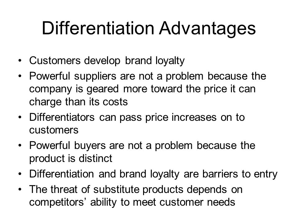 disadvantages of product differentiation and advertising discuss the advantages / disadvantages of standardized international marketing advantages standardization is the process by which a company makes it methods, especially its production processes, uniform/identical throughout its organization.