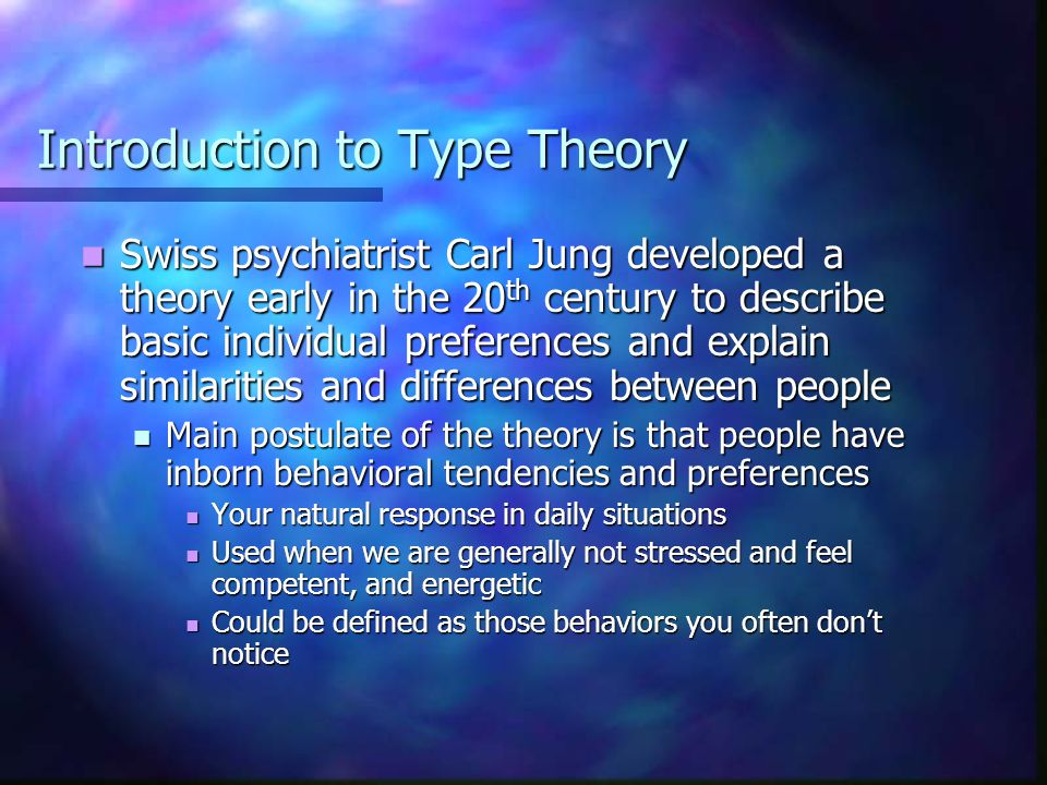 an introduction to the myers briggs type personality Other studies have investigated personality typing in  to put the mbti results  into context, it may be.