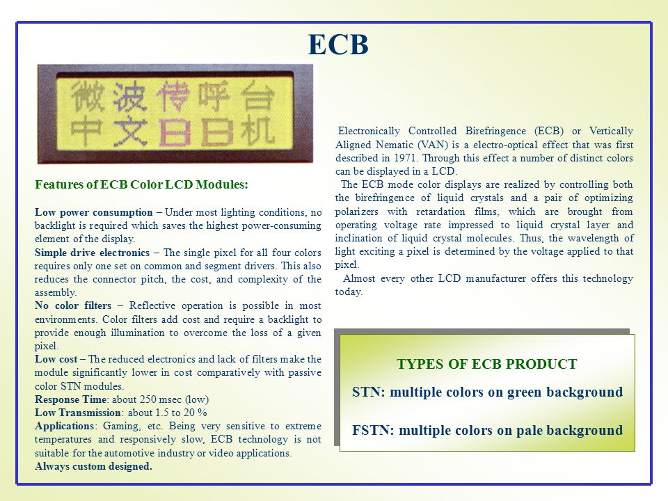 ECB TYPES OF ECB PRODUCT STN: multiple colors on green background