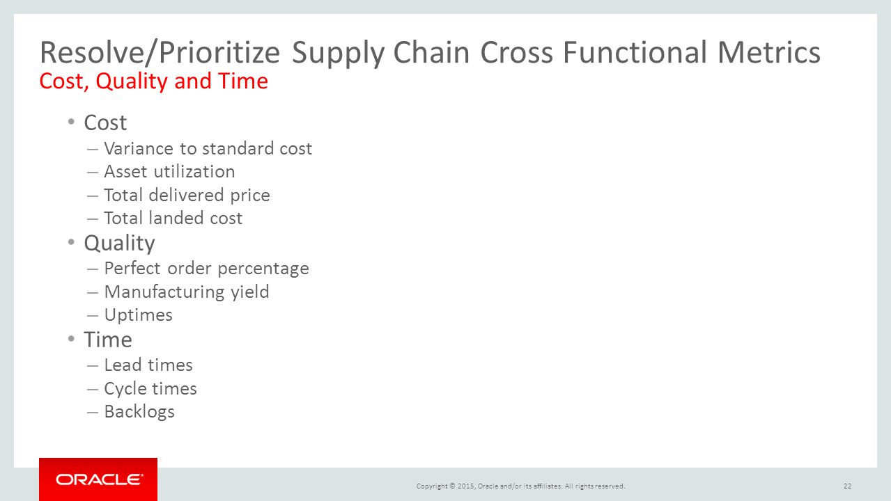 Resolve/Prioritize Supply Chain Cross Functional Metrics Cost, Quality and Time