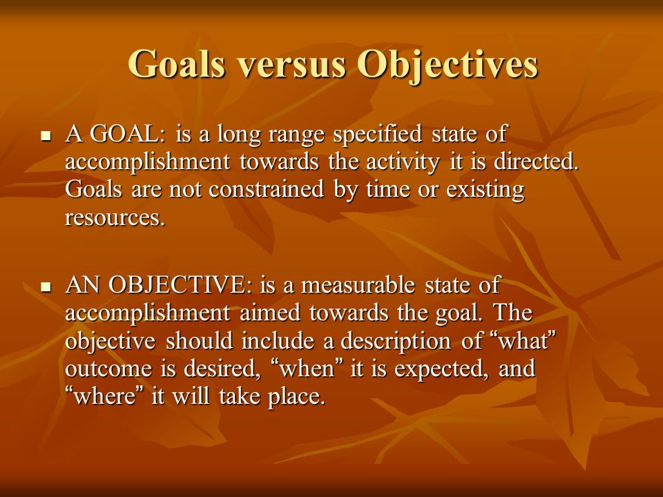 Goals versus Objectives
