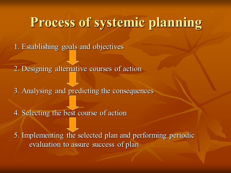 Process of systemic planning