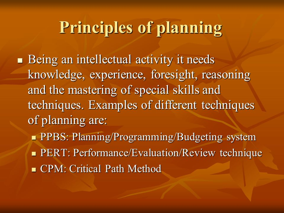 Principles of planning