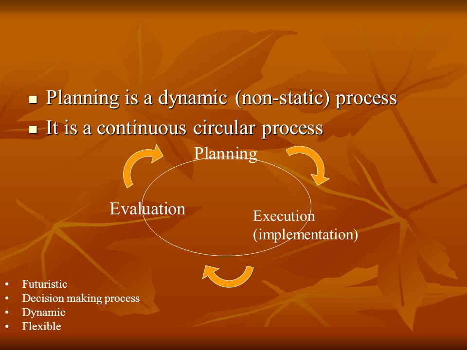 Planning is a dynamic (non-static) process