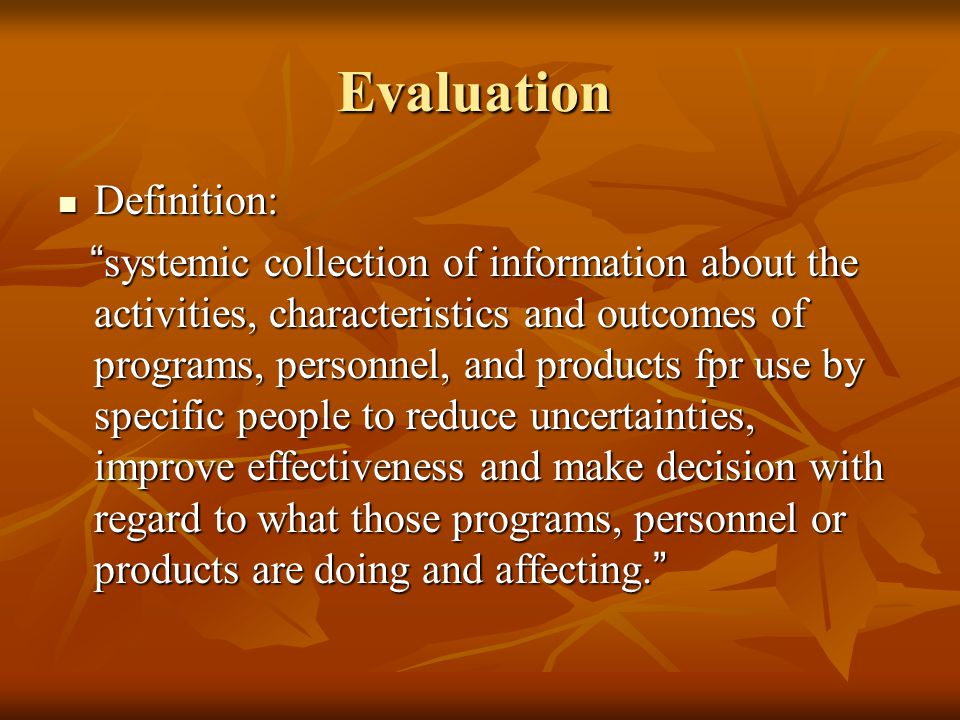 Evaluation Definition: