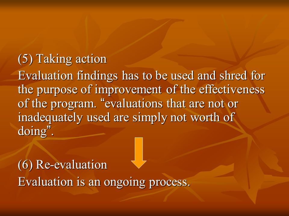 (5) Taking action