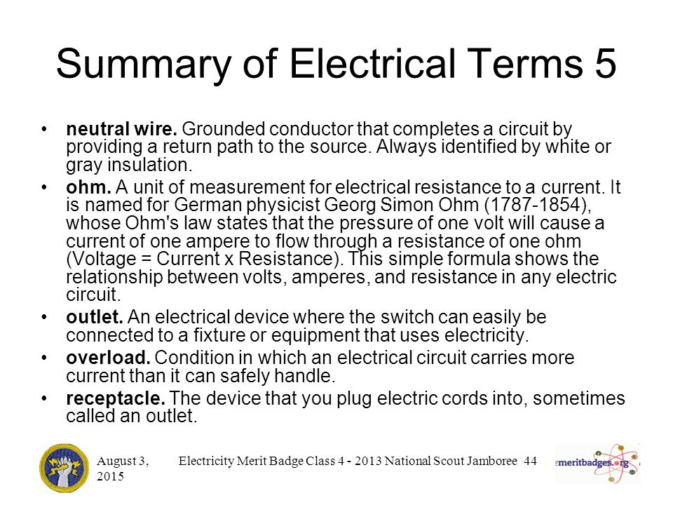 Electrical Measurement Terms : Electricity merit badge ppt download