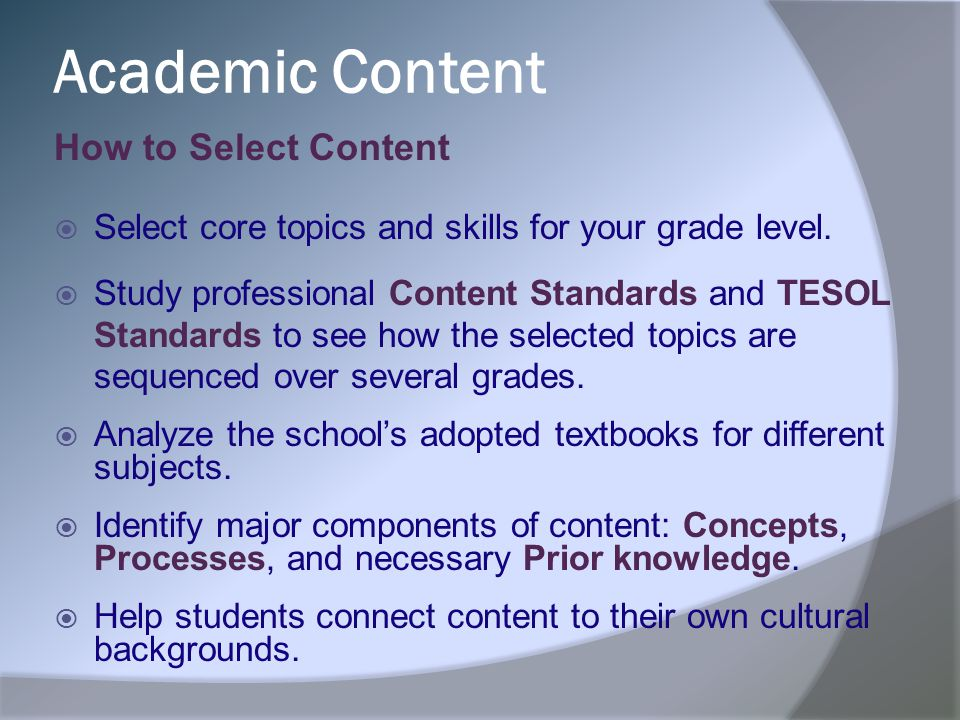 Academic Content How to Select Content