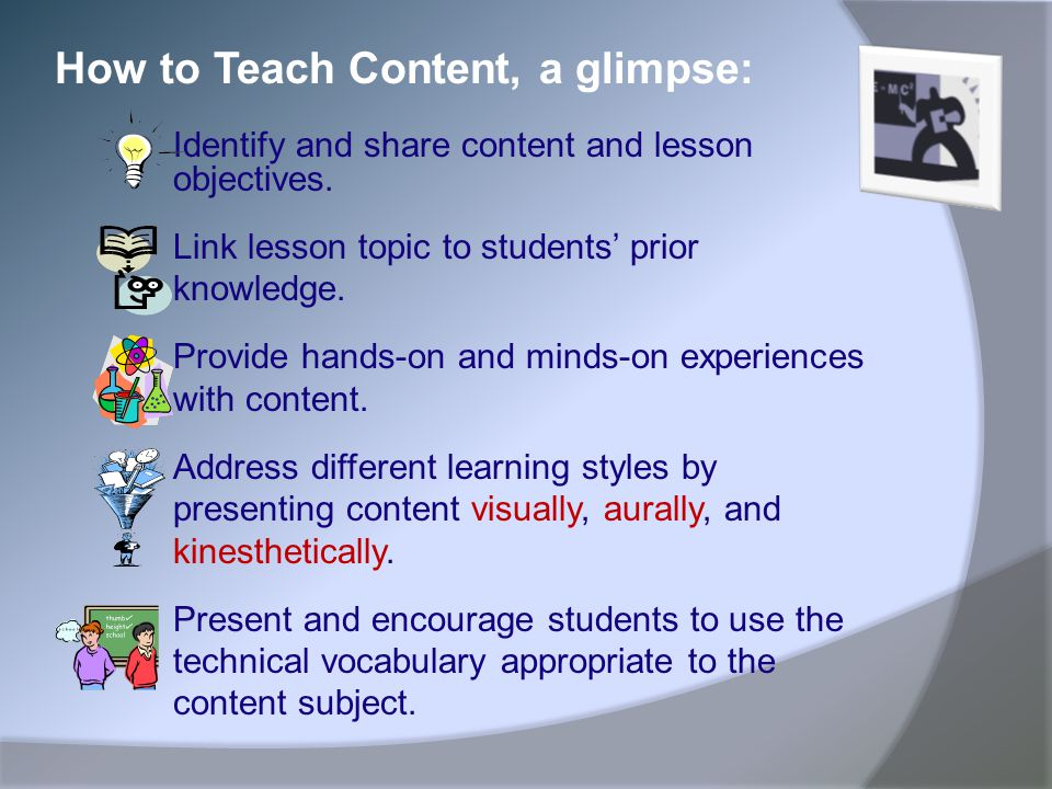 How to Teach Content, a glimpse: