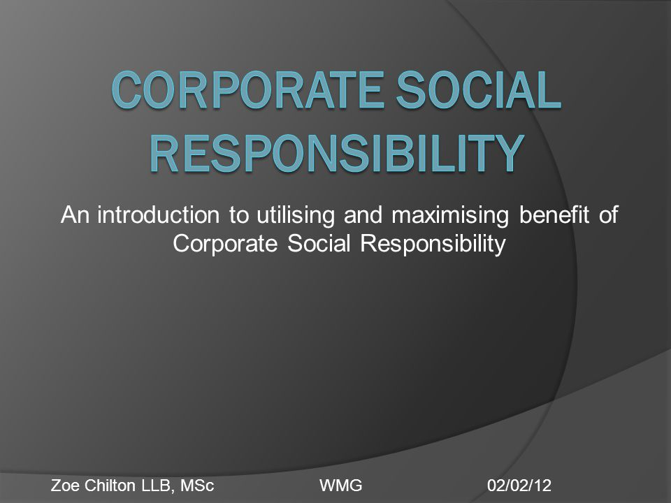 an introduction to corporate social responsibility This short course teaches the basic fundamentals of csr and current up to date trends on the sector corporate social responsibility – an introduction.