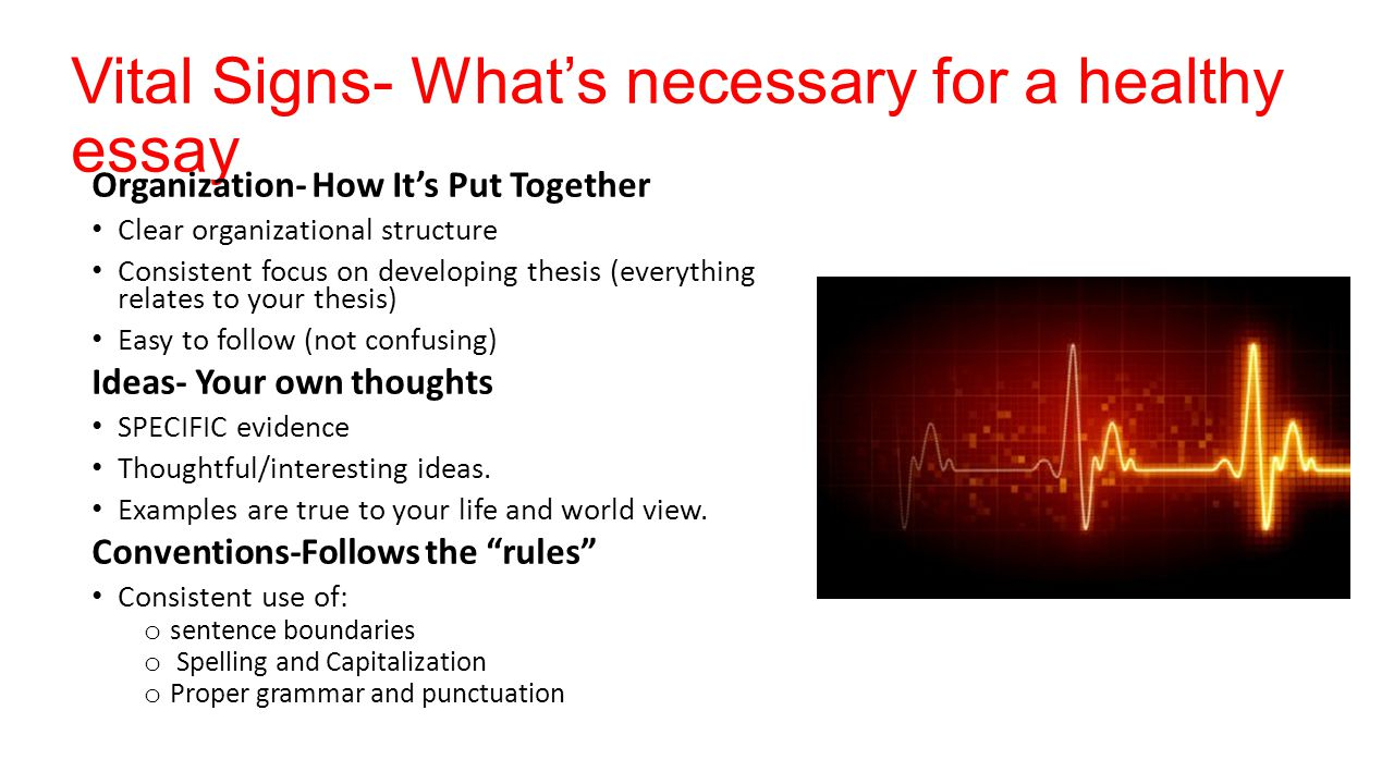 Vital Signs- What's necessary for a healthy essay