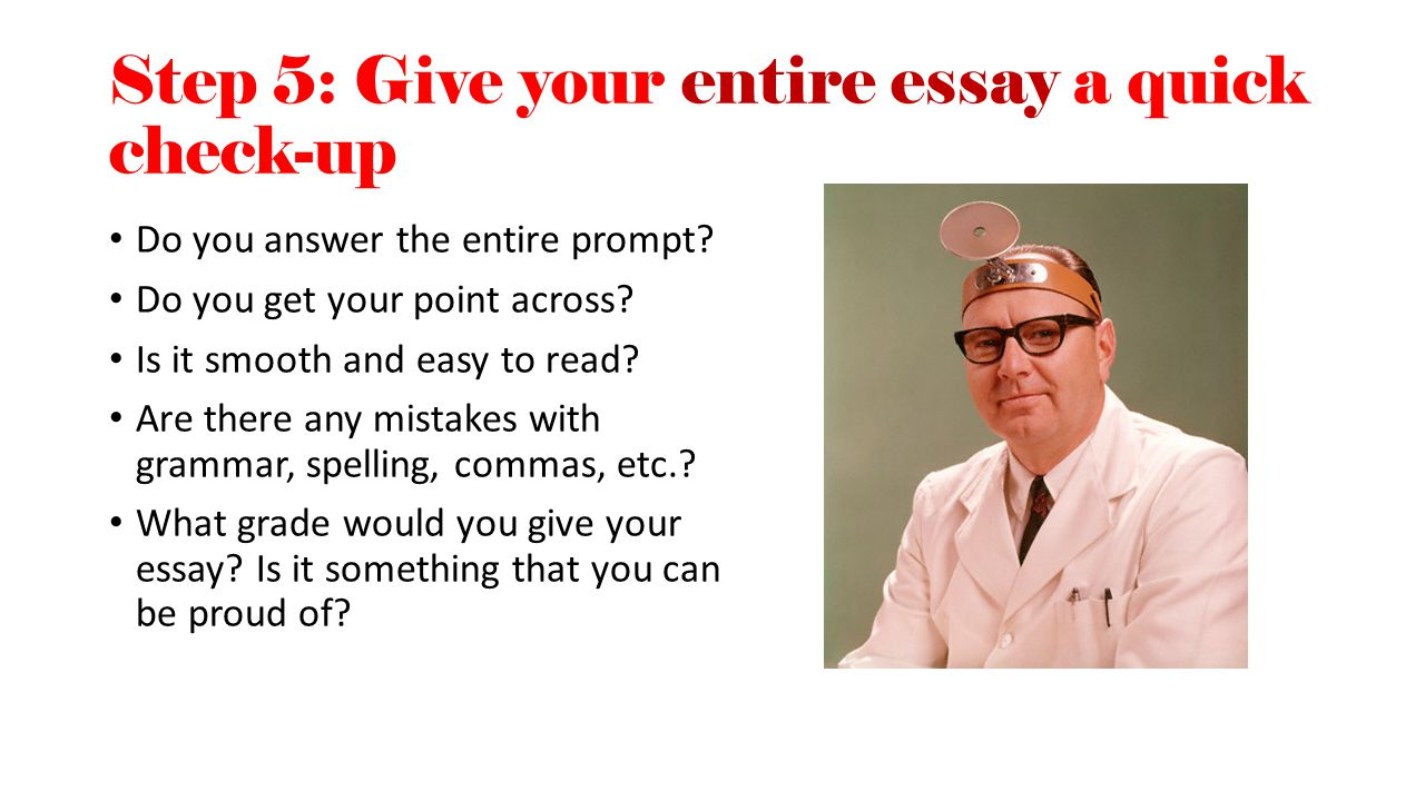 Step 5: Give your entire essay a quick check-up