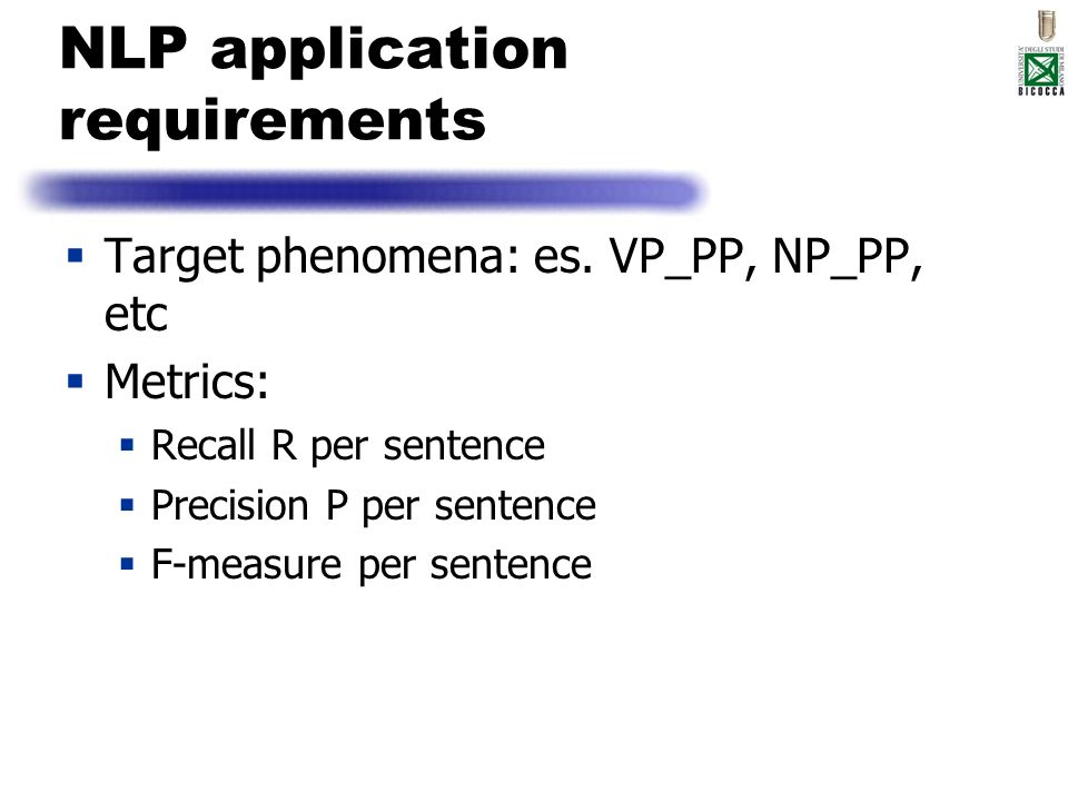 NLP application requirements