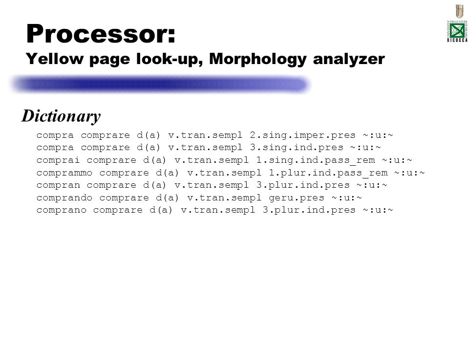 Processor: Yellow page look-up, Morphology analyzer