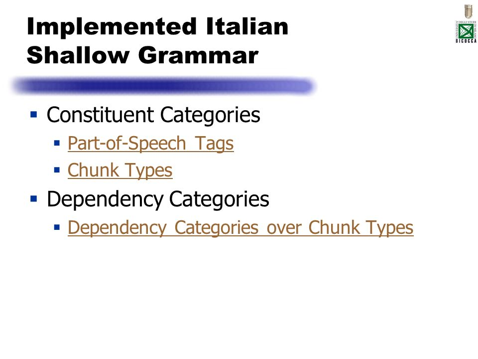 Implemented Italian Shallow Grammar