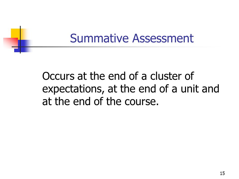 Summative Assessment Occurs at the end of a cluster of expectations, at the end of a unit and at the end of the course.