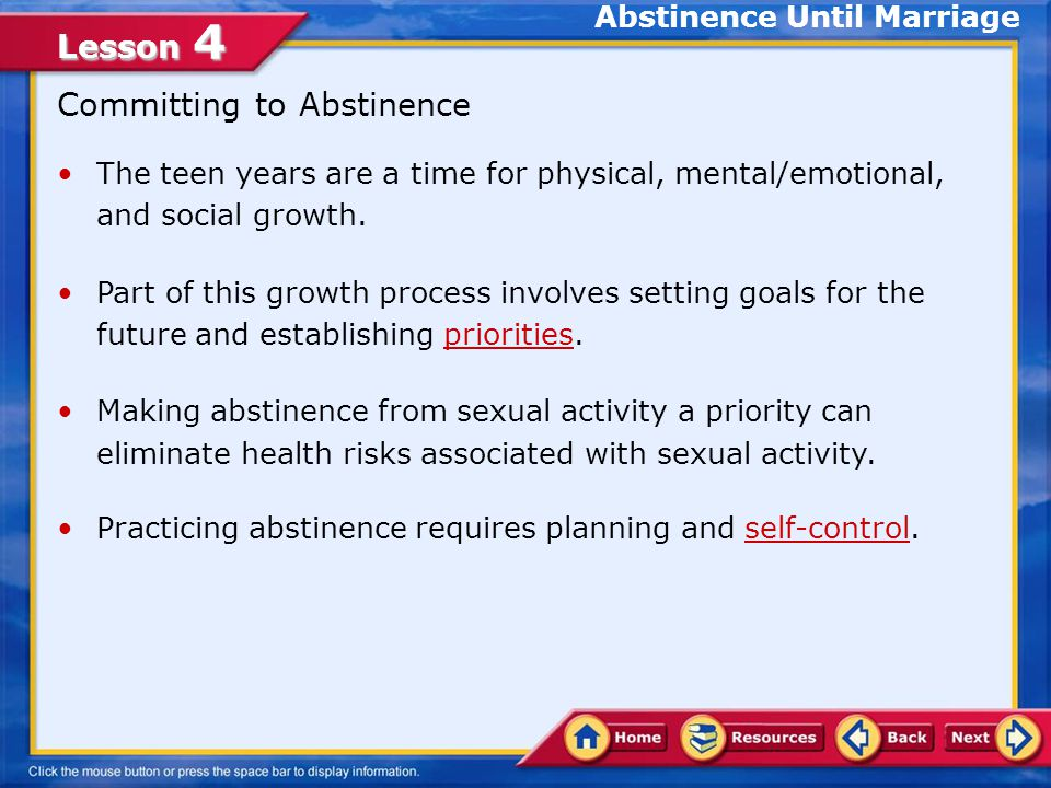 Abstinence Until Marriage