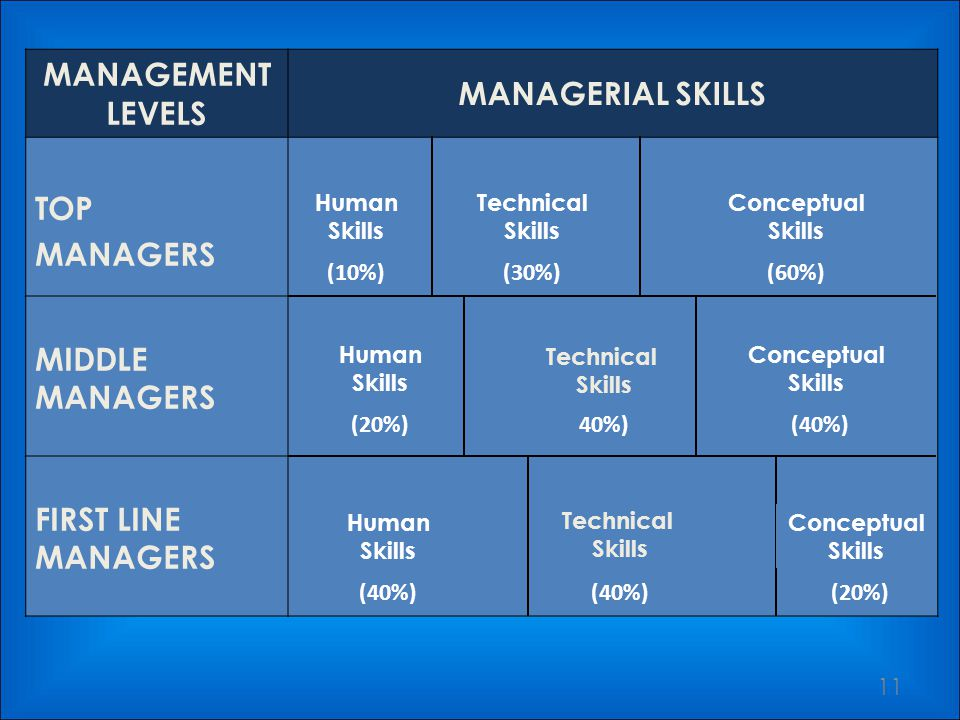 MANAGEMENT LEVELS MANAGERIAL SKILLS