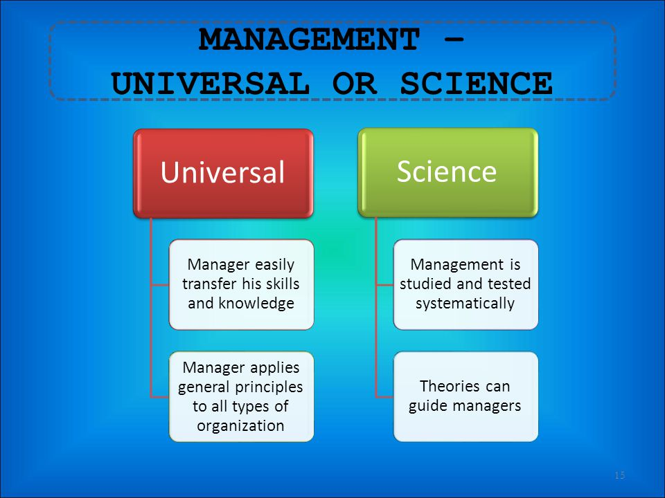 MANAGEMENT – UNIVERSAL OR SCIENCE
