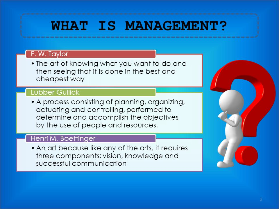 WHAT IS MANAGEMENT F. W. Taylor