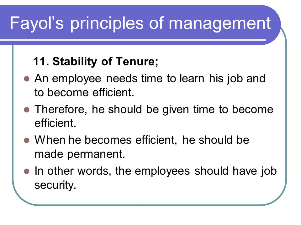 Fayol's principles of management