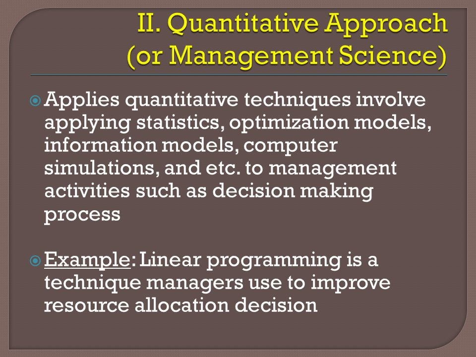 Management Science Approach: Definition and Features