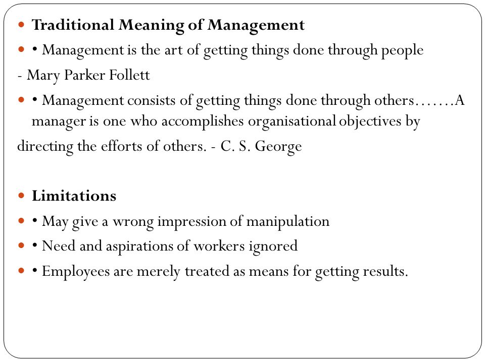 Traditional Meaning of Management