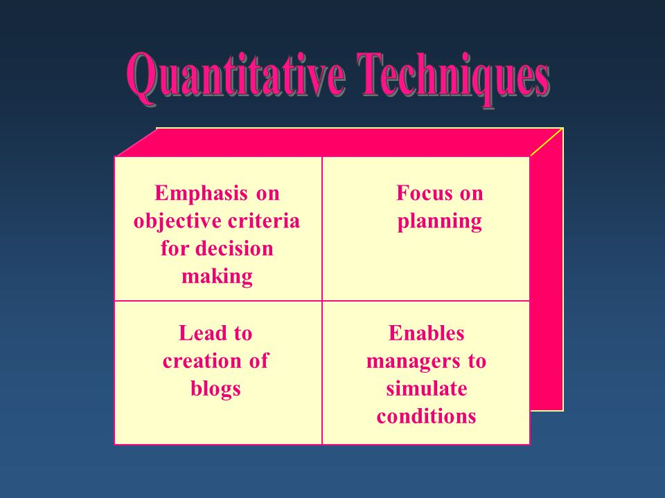 quantitative technique Quantitative methods emphasize objective measurements and the statistical, mathematical, or numerical analysis of data collected through polls, questionnaires, and surveys, or by manipulating pre-existing statistical data using computational techniques quantitative research focuses on gathering.