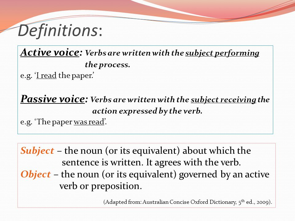 passive voice writing Exercises on passive use of passive passive voice is used when the focus is on the action it is not important or not known, however, who or what is performing the.