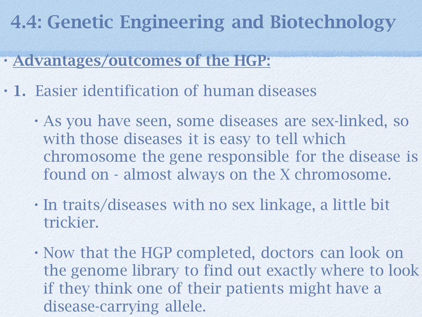 outline for research paper on genetic engineering Genetic engineering should not be controlled by the law, because the people controlling the law are not credited on knowing about what it is they are controlling  1st revised thesis: -the government shouldn't have the power to control genetic engineering because government legislators do not possess the adequate degree, and/or satisfactory knowledge regarding this [.