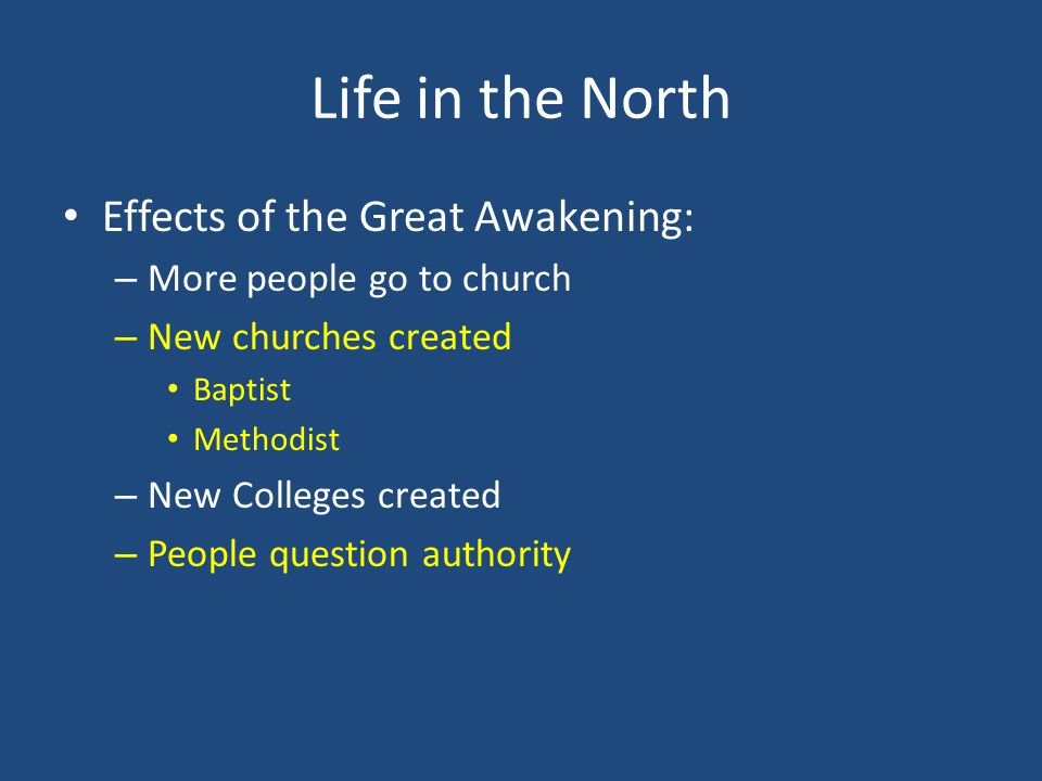 effects of the great awakening essay Caused by declining church influence, participation and a breakdown in moral standards, the great awakening was led by prominent leaders jonathan edwards and george whitefield and led to the consequences of increased church participation and the development and reorganization of church denominations.